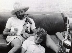 Hemingway not writing: Having a few drinks, and taking his son fishing.