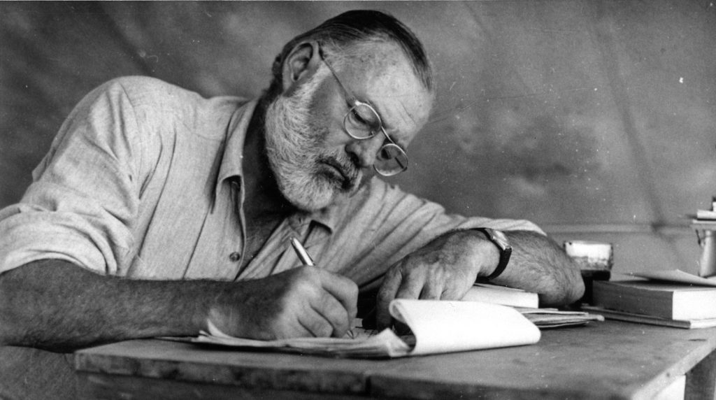 Ernest Hemingway getting the job done.